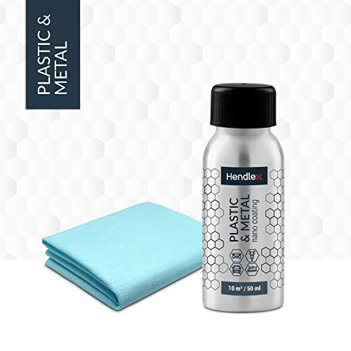 Hendlex Plastic & Metal Scheinwerfer Versiegelung und Felgenschutz für Auto- und Motorradvisier Wasserabweisende Außenbeschichtung Autopflege 50 ml