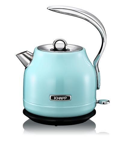 KHAPP 15130009 - Retro - Premium Wasserkocher aus Edelstahl - Kabellos - 2025 Watt -1,20 Liter - Teekessel - (Light Blue)