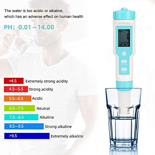 Water Quality Tester, Waterproof Electronic Water Quality Testing Meter Salinity PH TDS EC ORP Tester Hydrometer for Aquarium wimming Pool Drinking Water Beverage