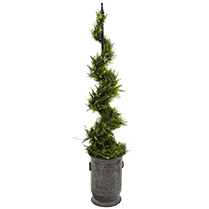 Silk Flower Arrangements Nearly Natural 58in. Cypress Artificial Spiral Topiary Vintage Metal Planter Silk Trees, Green