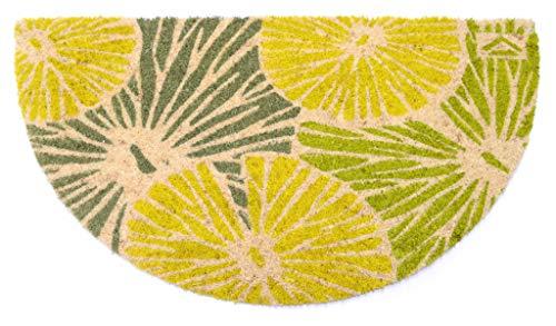 Felpudo de coco natural Joker Mezzaluna 40 x 75 cm fondo goma PVC diseño flores verdes para entrada resistente lavable antideslizante de calidad