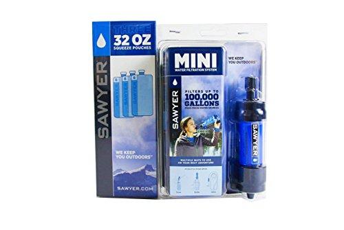 Sawyer Mini PointONE Wasserfilter Outdoor Wasseraufbereiter Trinkwasser Sparset mit 3 x 1L Trinkbeutel (3 x 1L.)