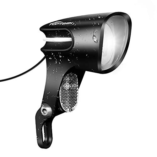 toptrek Fahrradlicht Dynamo StVZO Zulassung 6v-58v Fahrradlampe Vorne Nabendynamo LED Fahrradbeleuchtung OSRAM 60 Lux Fahrrad Scheinwerfer IPX5 Wasserdicht