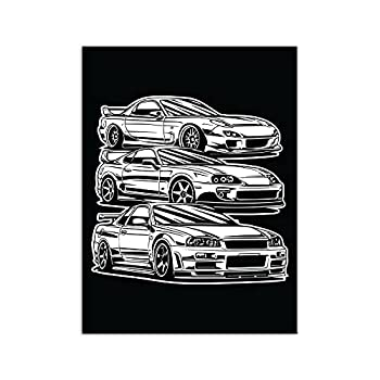 PENGDA Canvas Wall Art for JDM Cars Poster on Canvas for Home Living Room Bedroom Office Unframed 24x32inches