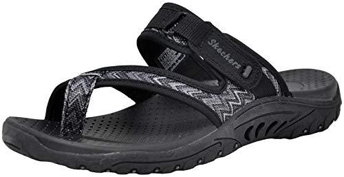 Skechers Women's Reggae-Zig Swag Flip-Flop Sandals, Black/Charcoal, 7.5 M US