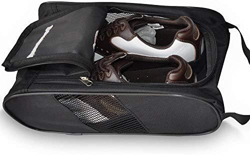 Athletic Golf Shoe Bag - Zippered Shoe Carrier Bags Sports Shoe Case (BLACK)
