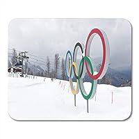 マウスパッドブラックソチ3月29日オリンピックリングでスキーマウスパッドノート、デスクトップコンピューターマットオフィス用品