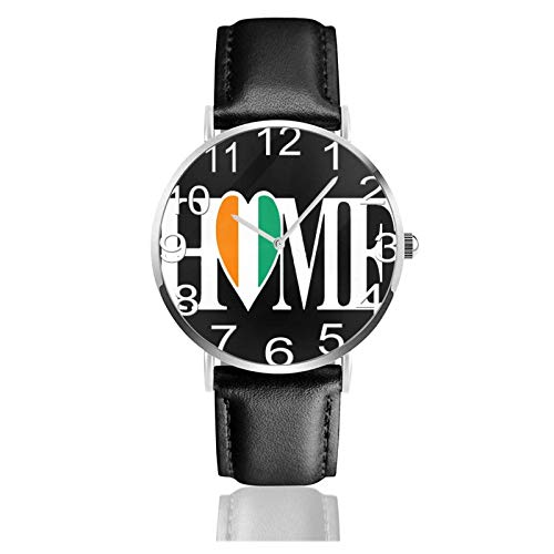 Reloj de Pulsera Irlanda Eire Bandera de Irlanda Inicio Durable Correa de Cuero PU Relojes de Negocios de Cuarzo Reloj de Pulsera Informal Unisex
