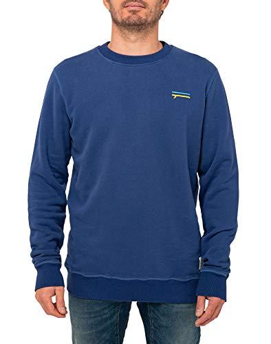 PULLIN Herren Sweatshirt Crew Finlines Gr. Large, blau
