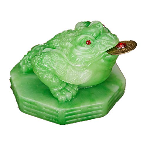 Feng Shui Polyresin Money Frog (Three Legged Toad) On Base Statue Home Office Decoration(Jade)
