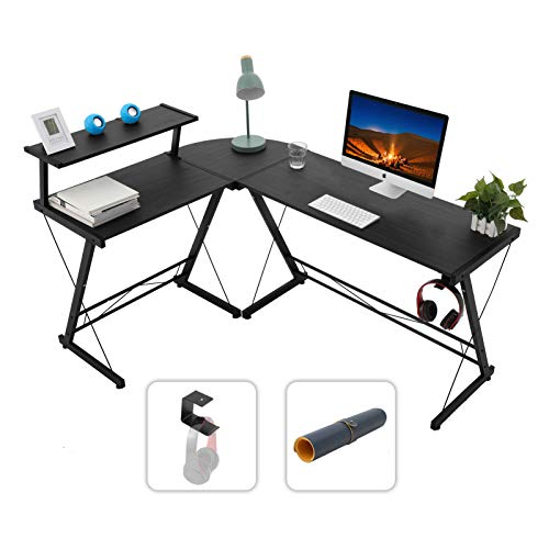 Gome L-Shaped Computer Desk - 61' Larger Corner Desk for Space Saving, Modern Home Office Writing Desk for Work, Study and Gaming, Ergonomic Wood Desk with Monitor Stand(Black)