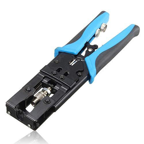 GUOCAO Alicates de crimpadora de compresión coaxial, conectores de cable de crimpado, alicates de alambre RG59/RG58/RG6 BNC/RCA/F, herramienta de pinzas