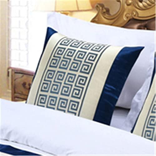 XJZKA Fundas de Cama con Bufanda de poliéster y algodón, Corredores de Cama de Lujo, colchas, Protectores para Dormitorio de Hotel, Almohada azul-50X50cm