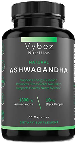 Natural Ashwagandha   60 Capsules   For Women   1300mg Organic and Vegan Friendly with All Natural Ingredients   Promotes Stress Relief, Support Healthy Nerve System, Energy and Mood   Vybez Nutrition