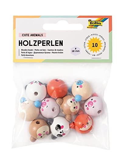folia Abalorios bonitos dibujos, 10 bolas de madera redondas con caras de animales, 5 diseños, diámetro de 18 mm, para enhebrar cadenas o figuras, carbón