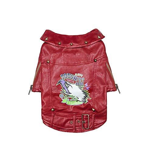 La Mode Veste en Cuir Moto Costume Pet Dog Vêtements Law Fighting Teddy Small Dog Peau Vêtements Street Fashion Costume Mignon (Color : Red, Size : S)