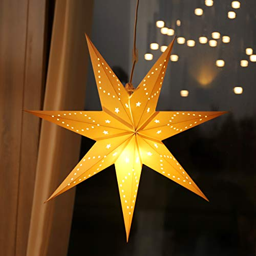 SALCAR LED-Papierstern zum Aufhängen, Laternen-Dekoration, Durchmesser 55cm, Papierstern für zu Hause, Dekoration, Papierstern Stern mit E27 LED-Lampe, warmweiß, für Weihnachten, Hochzeit, Party.