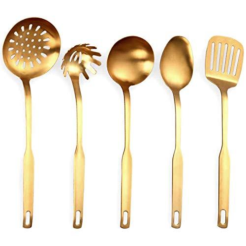 Sonline Edelstahl KüChen Utensilien 5 Teiliges Koch Kellen Set, KüChen Werkzeug Set, Gold