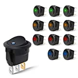 Nilight 90013L 12PCS Round Toggle LED Switch 12V Car Truck Rocker On-Off Control Blue Green Yellow Red,2 Years Warranty