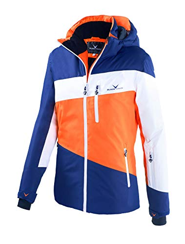 Black Crevice Damen Striped Skijacke (orange/White/Navy, 40)