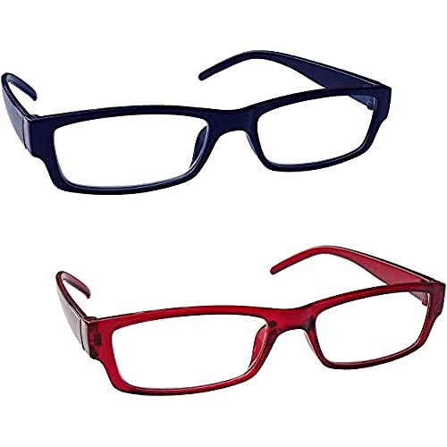 The Reading Glasses Company Blu Scuro Rosso Leggero Lettori Valore 2 Pacco Uomo Donna Rr32-3Z +1,50 - 58 Gr
