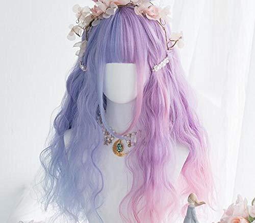 XTHY Cosplay Perücke Lolita zweifarbig blau rosa lockiges Haar 24 Zoll vor Pony Anime Cosplay PerüCke