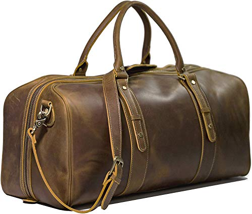 Texbo Men's Full Grain Cowhide Leather Large Overnight Travel Duffle Bag Luggage 23'