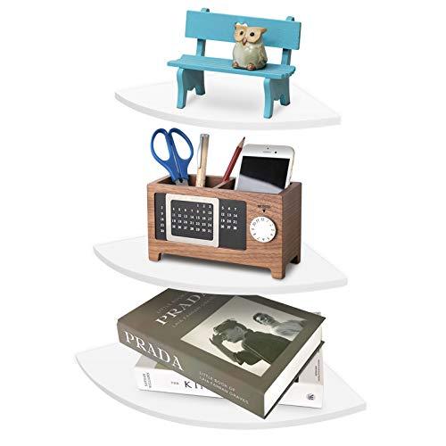 Estantería esquinera flotante con 3 estantes de ángulo, utilizada en la habitación, el salón, la cocina, la oficina, 5 kg o menos Load