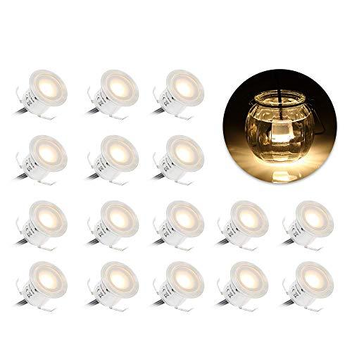 Spots LED Encastrables, Tomshine 16PCS Spots LED pour Terrasse, 0.6W Etanche IP67, Spot LED Lampe Extérieur, pour Chemin Contremarches d'escalier Piscine (Blanche chaude 3000K)