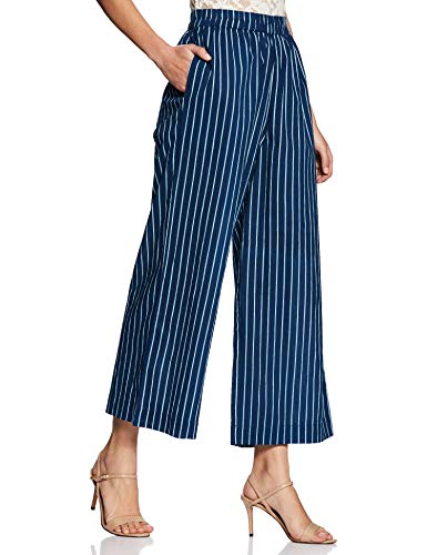 Amazon Brand - Myx Women's Stripe High Waist Flared Leg Cotton Casual Trousers (BP10_Blue_Xx-Large)