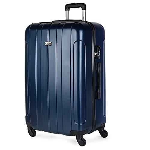 ITACA - Maleta de Viaje Grande XL Rígida 4 Ruedas Trolley 73 cm de ABS Lisa. Ligera Resistente. Gran Capacidad. Estilo y Marca. 771170, Color Marino