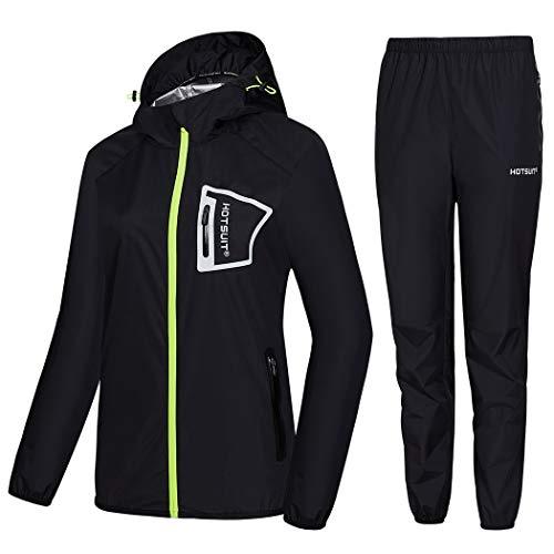 HOTSUIT Sauna Suit Perte de Poids Les Femmes Vêtements de Sudation Costume Sauna Costumes Veste Sweat Durables d'entraînement, Noir, XL