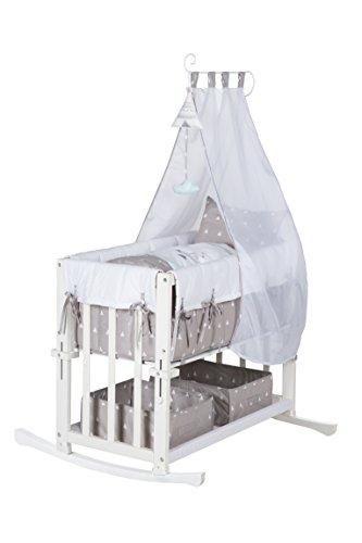 lit roba 4 en 1, lit supplémentaire'Indibär', lit bébé, berceau et banc pour enfants, en bois blanc avec équipement complet et literie pour bébé (80x80cm)