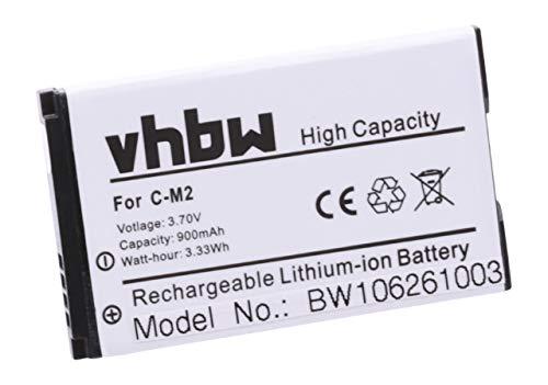 vhbw Li-Ion Akku 900mAh (3.7V) für Handy, Smartphone, Handy BlackBerry wie C-M2, BAT-11004-001.