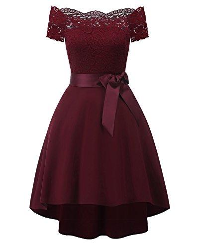 Laorchid Vintage Damen Kleid Spitzenkleid Off Schulter Cocktail Knielang A-Linie Burgundy S