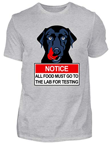 Notice All Food Must Go to The Lab for Testing- schwarzer Labrador - Herren Shirt -4XL-Grau (Meliert)