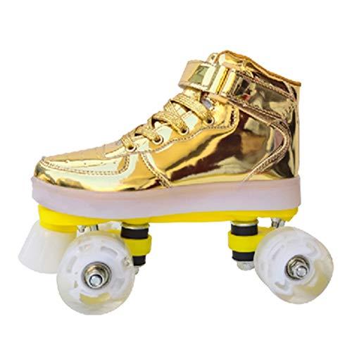 Discoroller Damen Rollschuhe Mädchen Quad Skates Schuhe Herren Led Skates Blades Rollerskates Für Erwachsene Kinder Jungen Mädchen Retro Design Mit Buntem Lichtrahmen,Gold-38