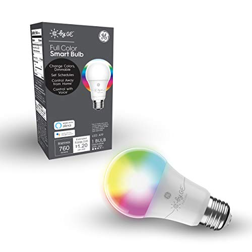 C by GE A19 Smart LED Bulb - Full Color Changing Light Bulb with App Control, 1-Pack, Smart Light Bulb Works with Alexa and Google Home, Bluetooth Light Bulb, RGB Light Bulbs