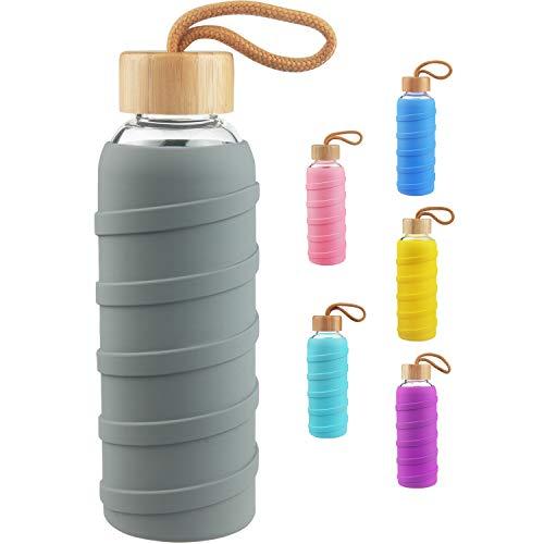SHBRIFA Botella de Agua de Vidrio de Borosilicato Deportivo 480ml / 1000ml / 1 Litre, Botella de Agua de Cristal con Funda de Silicona y Tapa de Bambu a Prueba de Fugas(480ml Gris)