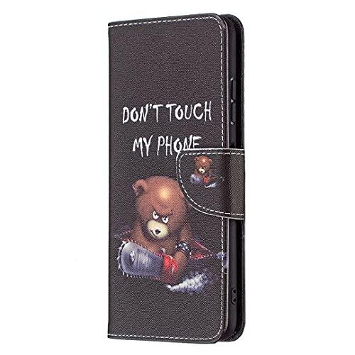 MTQLX Capa carteira de luxo compatível com LG V30 padrão de pintura colorida capas de couro premium e capa flip com alça de pulso para LG V30 (urso marrom)