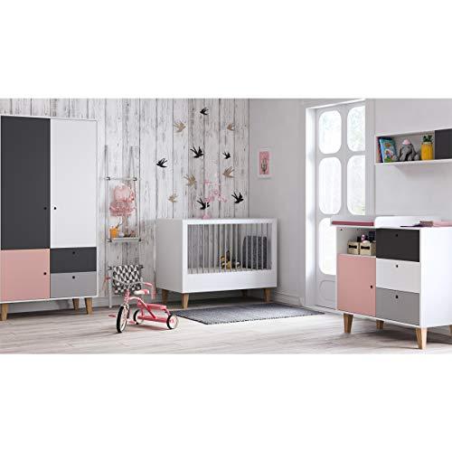 Chambre complète lit bébé 60x120 - commode à langer - armoire 2 portes Concept - Rose