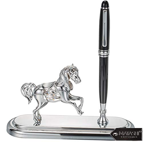 Matashi Executive Desk Set with Pen with Chrome Plated or Gold Plated Horse Ornament (Chrome Plated)