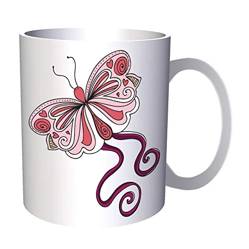 Cute Pink Butterfly 330 ml taza ee610
