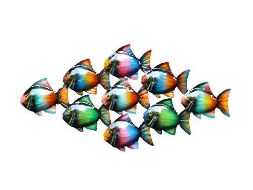 KLP Wanddeko Fisch Zierfisch Schwarm Wandbild Metall Deko Tier Figur Wandschmuck Wand Hänger