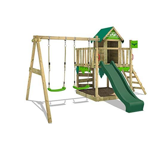 FATMOOSE Parque infantil de madera JazzyJungle Jam XXL con columpio y tobogán verde, Torre de escalada da exterior con arenero y escalera para niños