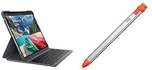 Logitech SLIM FOLIO PRO Backlit Bluetooth Keyboard Case for iPad Pro 12.9 Inch+Logitech Crayon - Digital pencil for all iPads