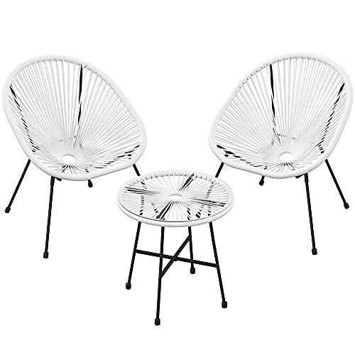 SONGMICS Gartenmöbel-Set, 3er-Set,Garten-Sitzgruppe,Lounge-Set aus Polyrattan, Tisch mit Glasplatte und 2 Stühle,Innen-undAußenbereich,weißGGF013W01