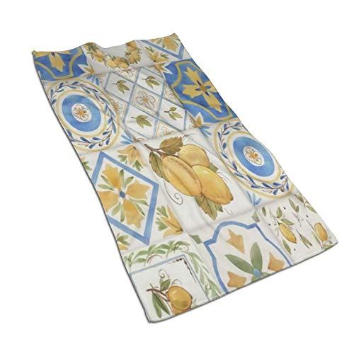 antoipyns Retro Ornament Square Lemons Sicily Pattern Print Toallas De Microfibra Supersuave, Absorbente, Toalla Multiusos para Ba?o, Gimnasio Y Spa, 27.5 X 15.7 Pulgadas