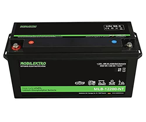 MOBILEKTRO® LiFePO4 200Ah 12V 2560Wh Lithium Versorgungsbatterie mit BMS, Bluetooth, -30 °C - EQ 320Ah - 400Ah AGM, GEL Aufbaubatterie für Wohnmobil, Boot, Camping oder Solaranlage