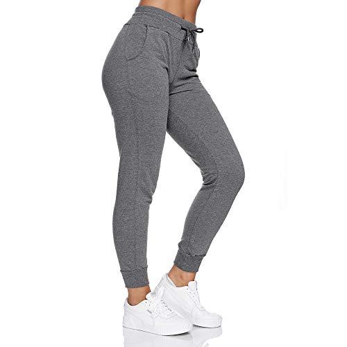 Smith & Solo Jogginghose Damen – Sporthose Frauen Baumwolle| Sweatpants Slim Fit Freizeithose Lang | Trainingshose Fitness High Waist – Jogger Laufhosen Modern Anthrazit/L